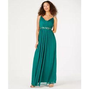 NWT Teeze Me Juniors' Beaded Grecian Gown, Emerald